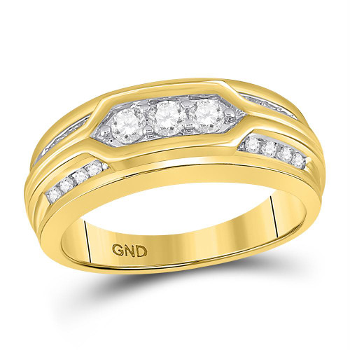 10kt Yellow Gold Mens Round Diamond 3-Stone Band Ring 1/2 Cttw