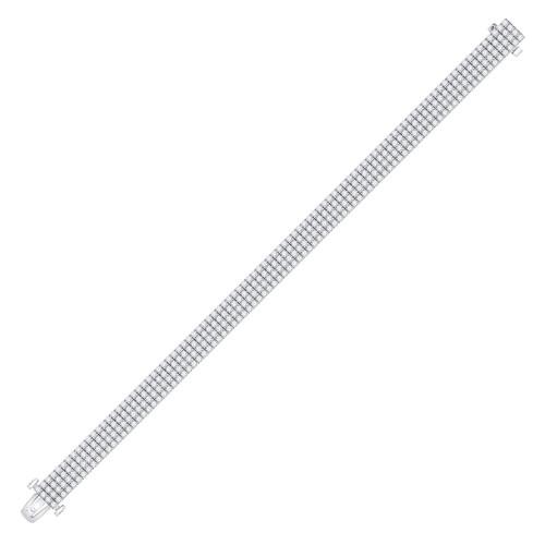 14kt White Gold Mens Round Diamond Fashion Bracelet 9-1/2 Cttw