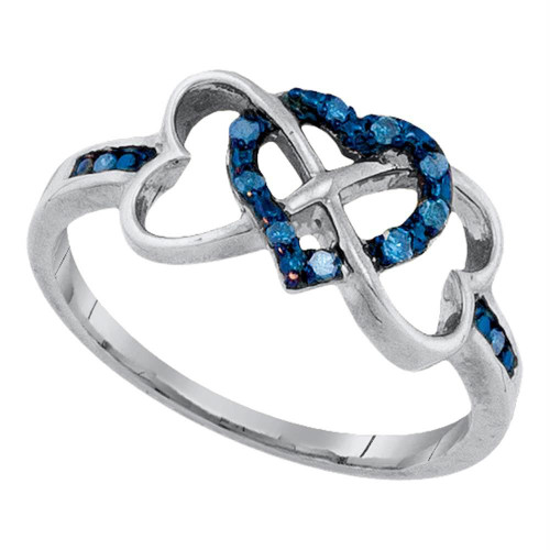 10kt White Gold Womens Round Blue Color Enhanced Diamond Triple Trinity Heart Ring 1/10 Cttw