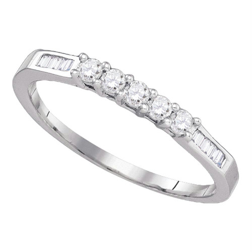 14k White Gold Round 5-stone Baguette Diamond Womens Bridal Wedding Anniversary Band 1/3 Cttw