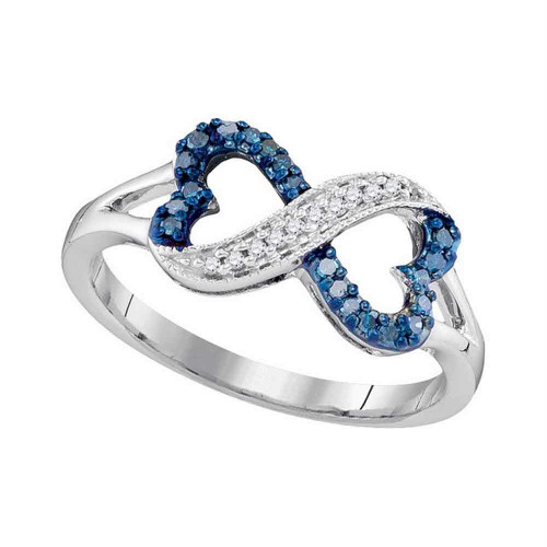 10kt White Gold Womens Round Blue Color Enhanced Diamond Infinity Heart Ring 1/6 Cttw