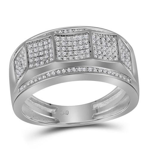 10kt White Gold Mens Round Diamond Band Ring 1/3 Cttw