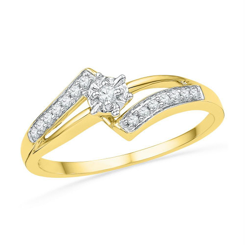 10kt Yellow Gold Womens Round Diamond Solitaire Bridal Wedding Engagement Ring 1/10 Cttw - 100543-7.5