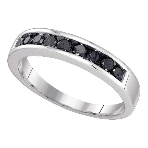 10kt White Gold Mens Round Black Color Enhanced Diamond Wedding Band Ring 1/2 Cttw - 81822-8.5