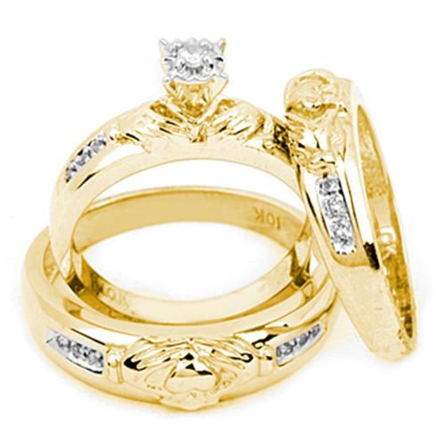 10k Yellow Gold Diamond Matching Claddagh Mens Womens His & Hers Trio Wedding Ring Set 1/8 Cttw