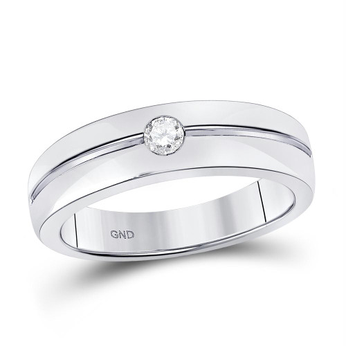 14kt White Gold Mens Round Bezel-set Diamond Wedding Band Ring 1/6 Cttw