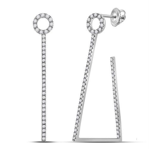 14kt White Gold Womens Round Diamond Trapezoid Geometric Hoop Earrings 3/4 Cttw