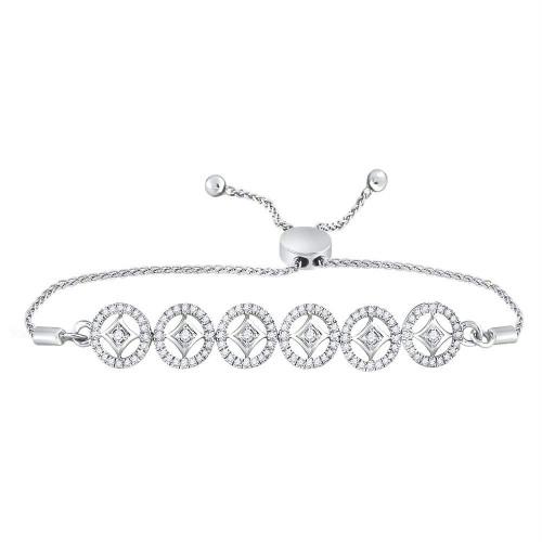 10kt White Gold Womens Round Diamond Joined Circles Bolo Bracelet 1/3 Cttw