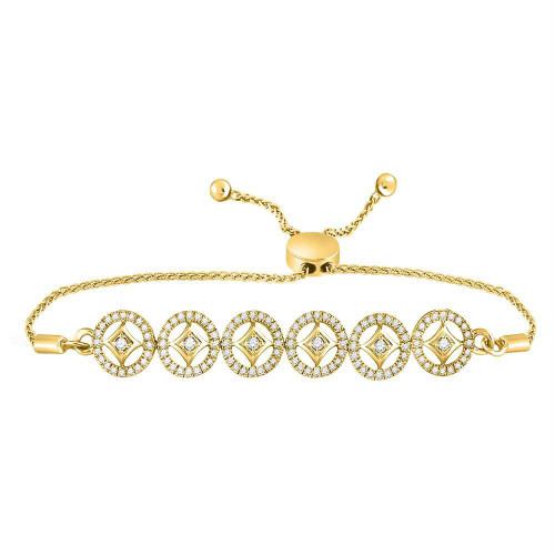10kt Yellow Gold Womens Round Diamond Joined Circles Bolo Bracelet 1/3 Cttw