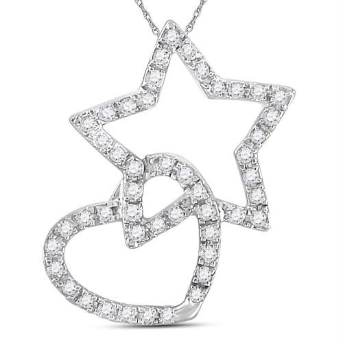 14kt White Gold Womens Round Diamond Linked Star Heart Pendant 1/8 Cttw