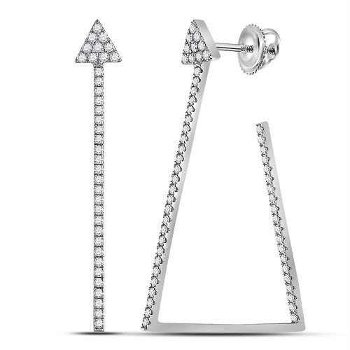 14kt White Gold Womens Round Diamond Trapezoid Geometric Hoop Earrings 3/4 Cttw - 119435