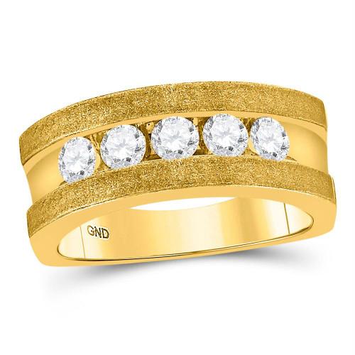 10k Yellow Gold Mens Round Diamond Single Row 5-Stone Wedding Band Ring 1/2 Cttw