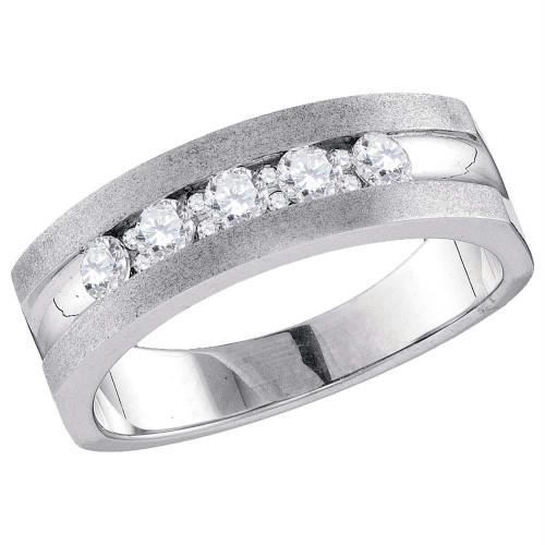 10kt White Gold Mens Round Diamond Single Row 5-Stone Wedding Band Ring 1/2 Cttw