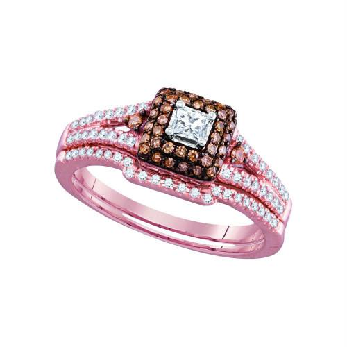 14kt Rose Gold Womens Princess Diamond Bridal Wedding Engagement Ring Band Set 1/2 Cttw