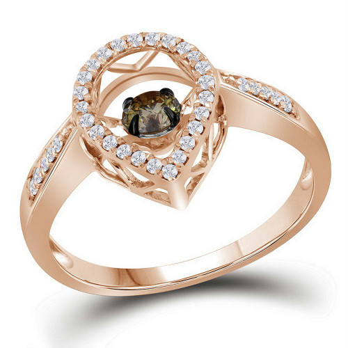 10kt Rose Gold Womens Round Cognac-brown Color Enhanced Diamond Moving Solitaire Ring 3/8 Cttw