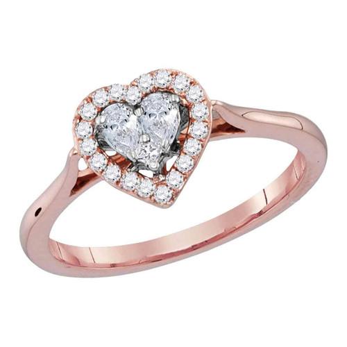 14kt Rose Gold Womens Princess Diamond Heart Love Ring 1/4 Cttw