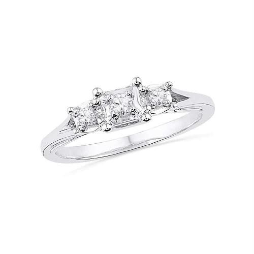 10kt White Gold Womens Round Diamond 3-stone Bridal Wedding Engagement Ring 1/10 Cttw