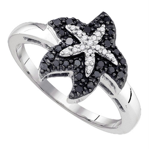 10k White Gold Black Color Enhanced Diamond Womens Starfish Nautical Animal Ring Unique 1/5 Cttw
