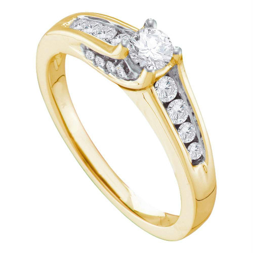 14kt Yellow Gold Womens Round Diamond Solitaire Bridal Wedding Engagement Ring 1/2 Cttw - 41366-6