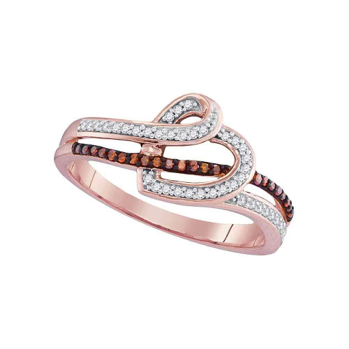 10kt Rose Gold Womens Round Red Color Enhanced Diamond Heart Love Ring 1/5 Cttw - 98554-9.5