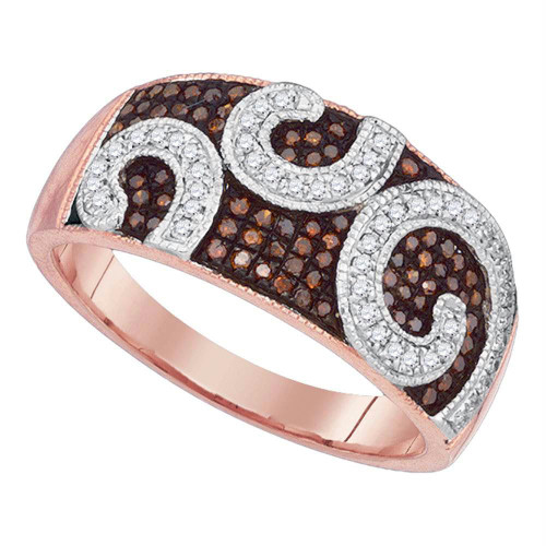 10kt Rose Gold Womens Round Red Color Enhanced Diamond Curl Band Ring 1/3 Cttw