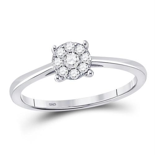 10kt White Gold Womens Round Diamond Cluster Bridal Wedding Engagement Ring 1/6 Cttw - 149216-8