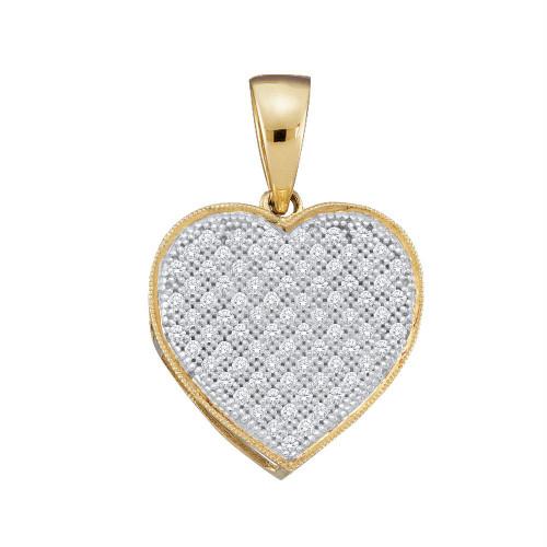 10kt Yellow Gold Womens Round Diamond Heart Pendant 1/4 Cttw - 50281