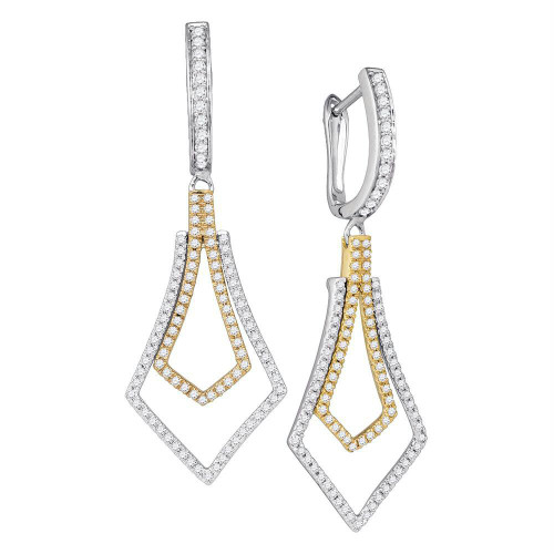 14kt Two-tone Gold Womens Round Diamond Flared Dangle Earrings 3/4 Cttw