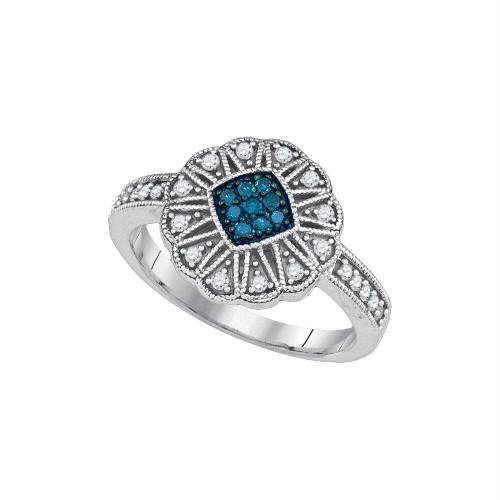 10kt White Gold Womens Round Blue Color Enhanced Diamond Cluster Ring 1/4 Cttw - 85661