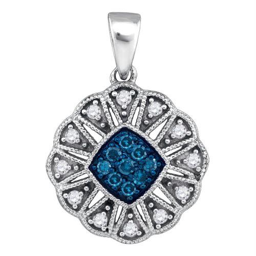10kt White Gold Womens Round Blue Color Enhanced Diamond Fashion Pendant 1/5 Cttw