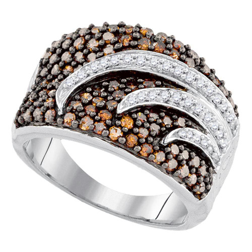 10kt White Gold Womens Round Brown Color Enhanced Diamond Fashion Ring 1-1/4 Cttw