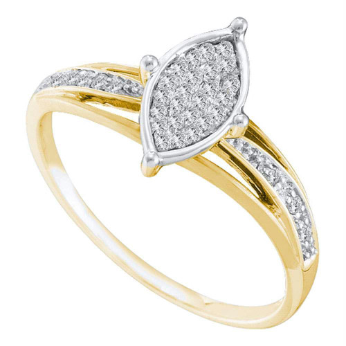 10kt Yellow Gold Womens Round Diamond Cluster Bridal Wedding Engagement Ring 1/10 Cttw
