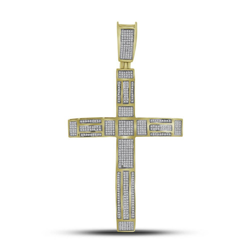 10kt Yellow Gold Mens Round Pave-set Diamond Roman Cross Charm Pendant 1.00 Cttw