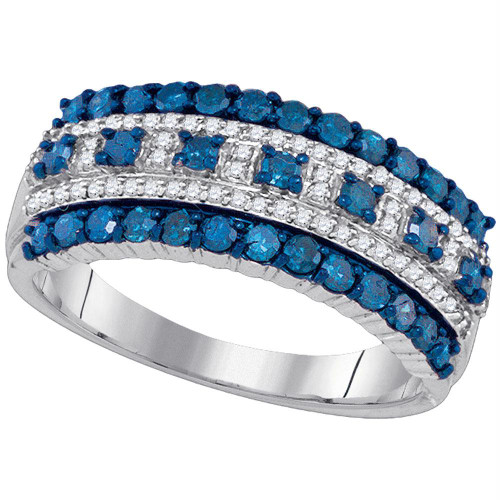 10kt White Gold Womens Round Blue Color Enhanced Diamond Band Ring 1.00 Cttw