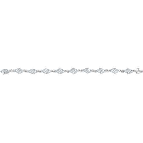 10kt White Gold Womens Round Diamond Fashion Bracelet 1/2 Cttw