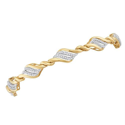 10kt Yellow Gold Womens Round Diamond Fashion Bracelet 1/2 Cttw