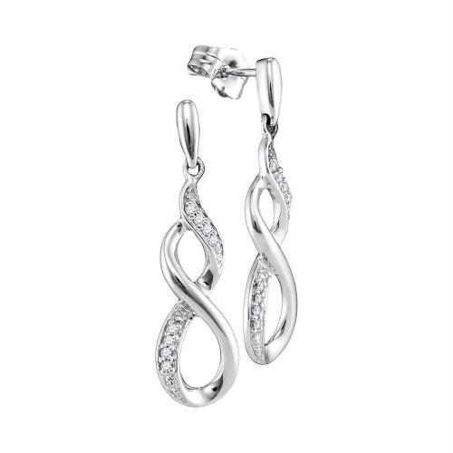 10kt White Gold Womens Round Diamond Infinity Dangle Earrings 1/20 Cttw