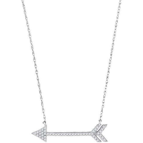 10kt White Gold Womens Round Diamond Arrow Fashion Necklace 1/8 Cttw