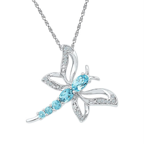 Sterling Silver Womens Round Lab-Created Blue Topaz Dragonfly Bug Pendant 1.00 Cttw