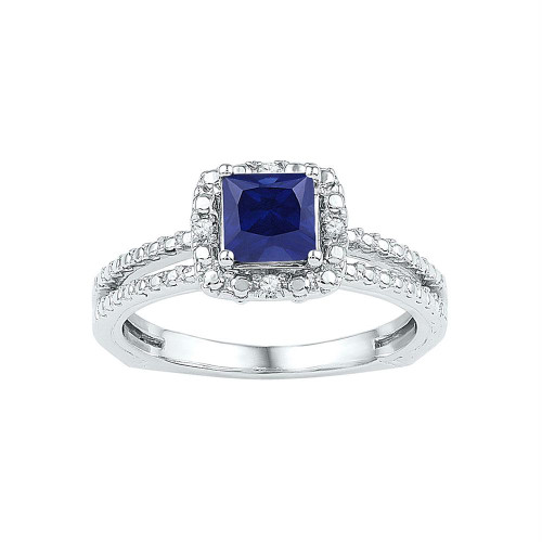 Sterling Silver Womens Princess Lab-Created Blue Sapphire Solitaire Ring 7/8 Cttw