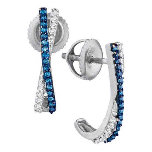 10kt White Gold Womens Round Blue Color Enhanced Diamond Half J Hoop Earrings 1/8 Cttw