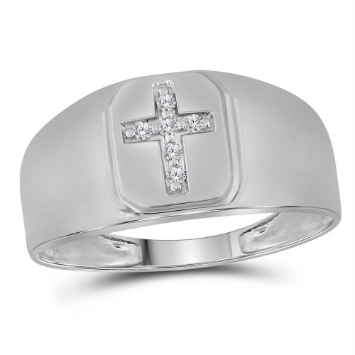 10kt White Gold Mens Round Diamond Brushed Matte Cross Band Ring 1/20 Cttw