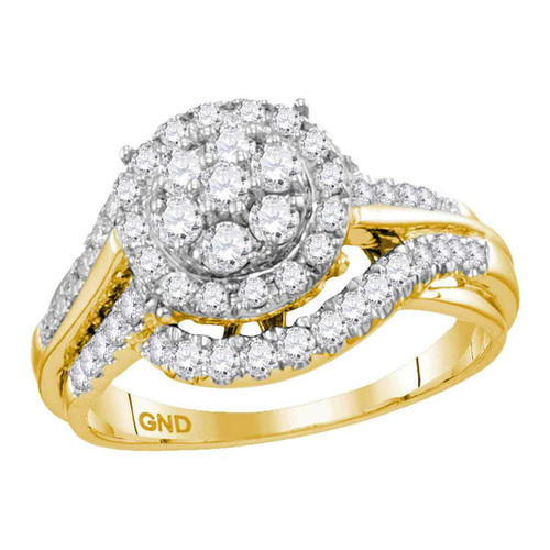 14kt Yellow Gold Womens Round Diamond Cluster Bridal Wedding Engagement Ring 1.00 Cttw - 113730-9
