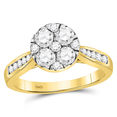 14kt Yellow Gold Womens Round Diamond Cluster Bridal Wedding Engagement Ring 1.00 Cttw - 107430-5