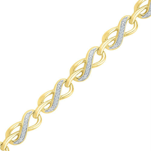 10kt Yellow Gold Womens Round Diamond Infinity Link Fashion Bracelet 1/5 Cttw