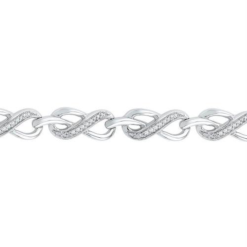 10kt White Gold Womens Round Diamond Infinity Link Bracelet 1/5 Cttw