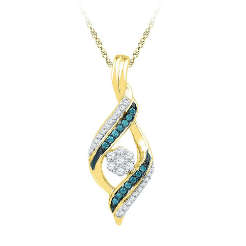 10kt Yellow Gold Womens Round Blue Color Enhanced Diamond Cluster Pendant 1/4 Cttw