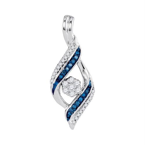 10kt White Gold Womens Round Blue Color Enhanced Diamond Cluster Pendant 1/4 Cttw