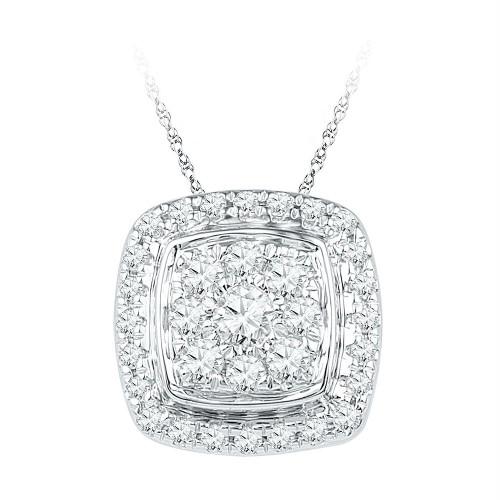 10kt White Gold Womens Round Diamond Square Cluster Fashion Pendant 1/2 Cttw