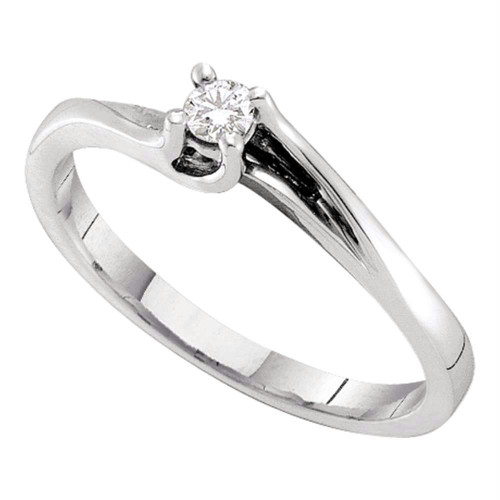 14kt White Gold Womens Round Diamond Solitaire Promise Bridal Ring 1/10 Cttw